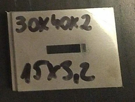 Baknianyag 2x30x40(15x3,2)mm 1.4301 Saválló acél