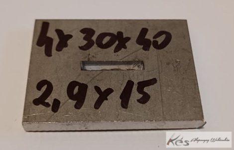 Baknianyag 4x30x40(2,9x15)mm 1.4301 Saválló acél
