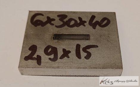 Baknianyag 6x30x40(2,9x15)mm 1.4301 Saválló acél