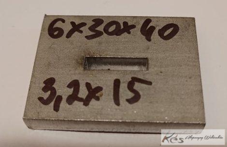 Baknianyag 6x30x40(3,2x15)mm 1.4301 Saválló acél